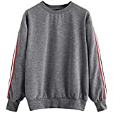 Womens Round Stripe Neck Long Sleeve Casual Pullover Sweaters For Women Shirt Blouse Sweatshirt T-shirts