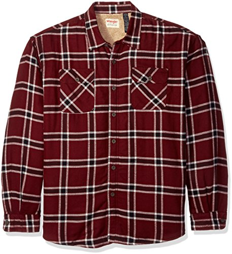 Wrangler Authentics Men's Long Sleeve Sherpa Lined  Shirt Jacket, Tawny Port, 3XL