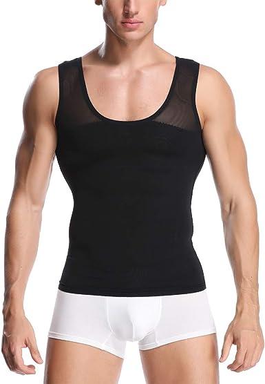 UK Men Slimming Vest Waist Trainer Top Chest Compression Back Support Shaperwear