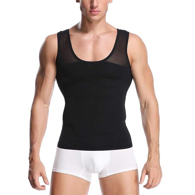 Men Chest Compression T-Shirt Posture Corrector Vest Abs Slim Body Shaper Tops