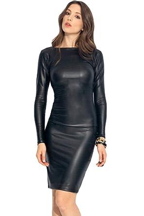 fc3445ec1e5f Amazon.com  SunShine Sexy Reversible Faux Leather Midi Dress Black L ...