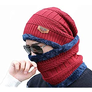 AlexVyan Ultra Soft Unisex Woolen Beanie Cap Plus Neck Scarf Set for Men Women Girl Boy – Warm, Snow Proof – 20 Degree…