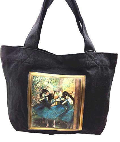 Lunch tote bag with famouse painting,Canvas Tote bag with magnetic button and inner pocket (Edgar Degas-ballet BLK) (Degas Bag Ballet)