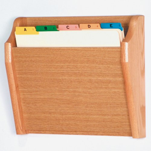DMD Tapered Letter Size Wood Chart or File Holder, Single Pocket, Wall Mounted, Light Oak Finish
