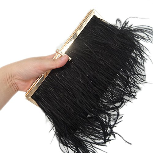 Zakia Real Natural Ostrich Feather Evening Clutch Shoulder Bag Party Bag (Black-B) by Zakia (Image #6)