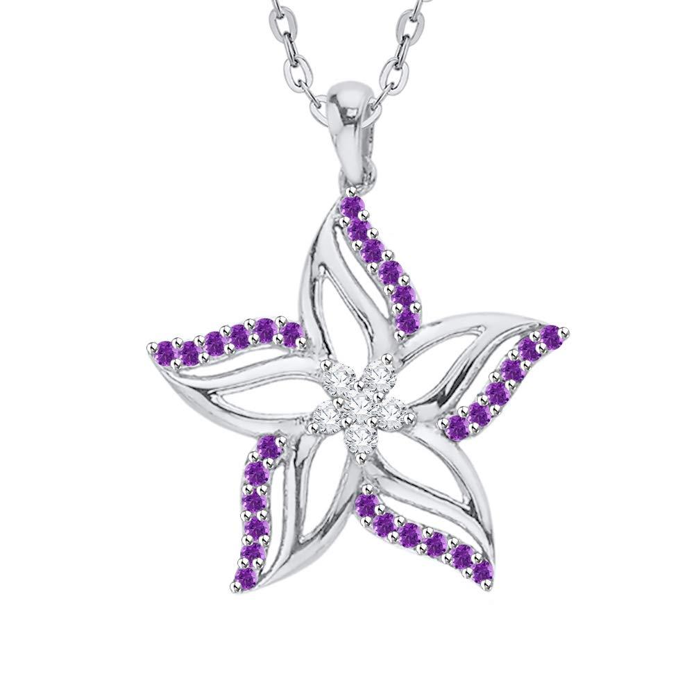 KATARINA Diamond and Gemstone Cluster Star Floral Pendant Necklace in 10k Gold 1//2 cttw, I-J, I1-I2
