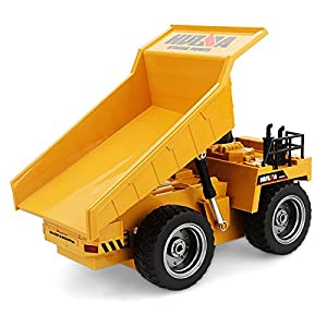 Kids 1:12 2.4G 6CH RC Alloy Dump Truck High Simulation Trough Tipper Lorry Tipper Truck with Auto Demonstration Function