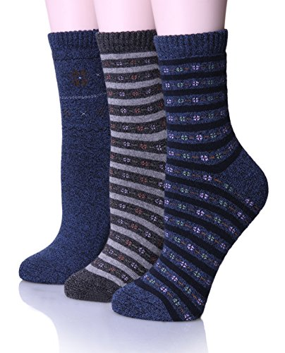 [EBMORE Women's Warm Soft Winter Cotton Socks for Cold Weather Crew Sock (Pack of 3) (Blue)] (Cute Santa Outfits)