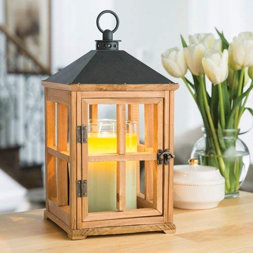 CANDLE WARMERS ETC Wooden Candle Warmer Lantern for TopDown Candle Melting Natural Teak