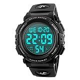 Men's Sports Watch Military Classic Stopwatch Large Dial Electronic LED Backlight Wristwatch 50M Waterproof Digital Watch (Black)