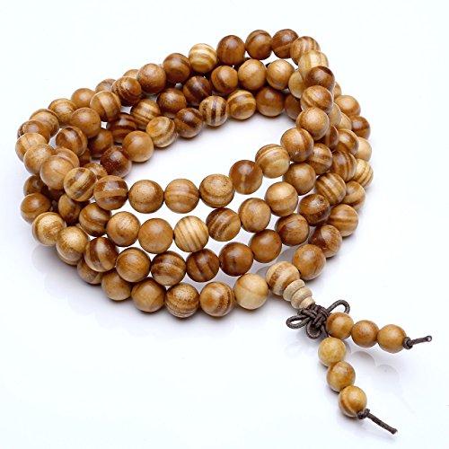 JOVIVI 6mm 8mm Natural Wood Bracelet Link Wrist Necklace 108 Tibetan Buddhist Prayer Beads Buddha Mala