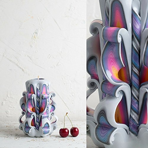 Hand Carved Candle - Handmade Decorative Sculpture White Rainbow - Gentle colors - EveCandles (Sculpture Candle)