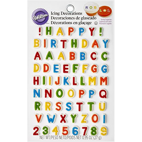 Wilton 710-6042 Letters & Numbers Edible Icing Decorations -
