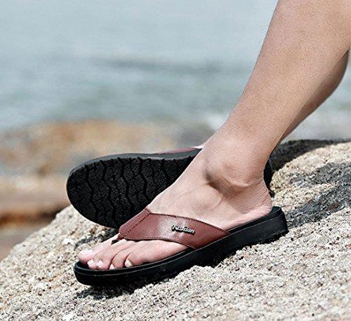 Sandali da Casual Brown LEDLFIE Uomo Pesce Spina Sandali A da Antiscivolo di Sandali Uomo cWgcPpU
