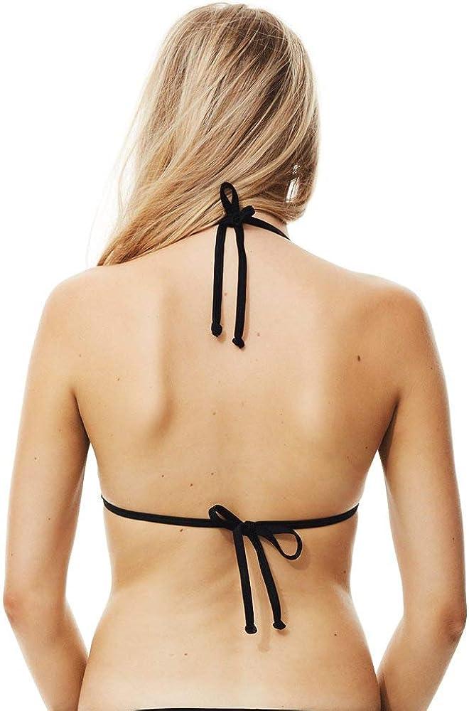 Piha Solid Triangle Bikini Top Black