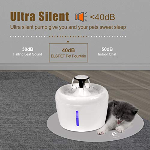 ELSPET Cat Water Fountain 84oz/2.5L Dog Drinking Dispenser, Flowing Fresh Water/Loop Filter/Ultra Silent Pump, Automatic Cat Water Fountain with 3 Pet Fountain Filters/1 Silicone Mat/1 Cleaning Brush