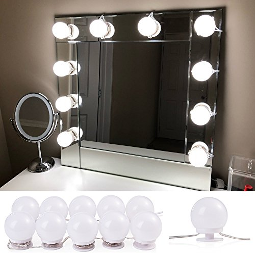 Lvyinyin Vanity Light Makeup Lighted Mirrors with Hollywood Dimmable LED Bulbs Wall up Lighting Fixtures for Bathroom Dressing Cosmetic Table (Daylight, 10 Bulbs Pack, Mirror Not Included) (Bathroom Lighting Fixtures Fixture)
