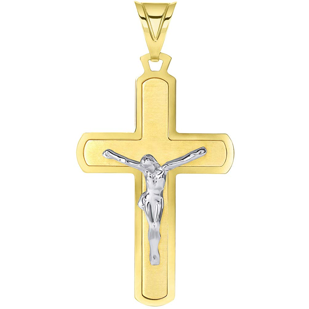 Solid 14k Two-Tone Gold Flat-Style Cross Pendant with Jesus Crucifix