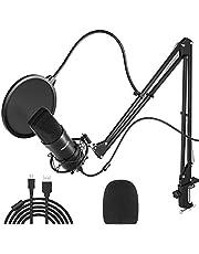 Peradix USB-condensatormicrofoon voor pc en laptop, studioopnamekit met microfoonstandaard, schokdemperhouder, voorruit, popfilter, voor radio, opname, YouTube