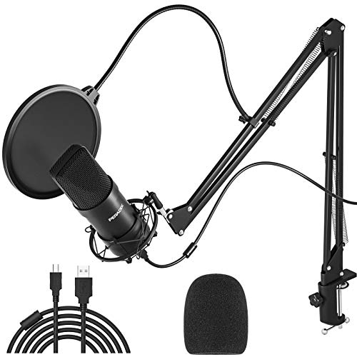 USB Streaming Podcast PC Microphone 2021 Mics, Peradix 192KHz/24Bit Professional Studio Cardioid Condenser Microphone Kit with Boom Arm, Pop Filter for Skype YouTube Karaoke Gaming Recording