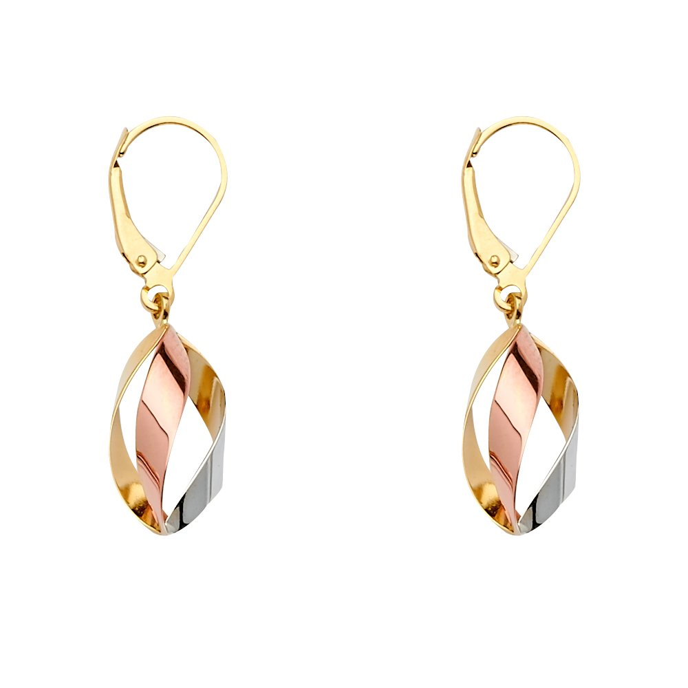Wellingsale 14k 3 Tri Color White Yellow and Rose Gold Tear Drop Dangle Hanging Earrings (35 x 10 mm)