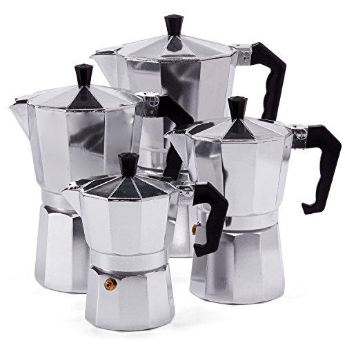Espressokocher Espresso Mokka Maker Aluminium für 3,6,9 oder 12 Tassen Espressomaschine (6 Tassen)
