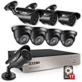 ZOSI 8CH 1080N HD TVI DVR 1280TVL HD Security Camera System with 8 Indoor/ Outdoor Waterproof 120ft Night Vision Security Cameras 1TB HDD Support 3G Smartphone view and Remote Access