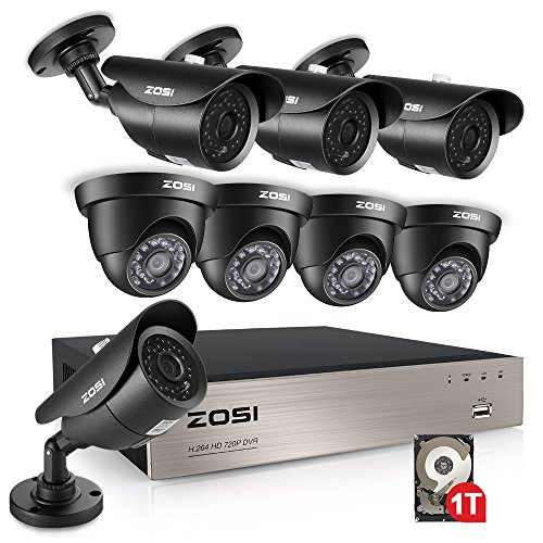 ZOSI 8CH 1080N HD TVI DVR 1280TVL HD Security Camera System with 8 Indoor/Outdoor Waterproof 120ft Night Vision Security Cameras 1TB HDD Support 3G Smartphone View and Remote Access