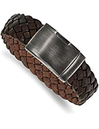 "<span class=""a-offscreen"">[Sponsored]</span>Stainless Steel Antiqued-Style and Brushed Brown Braided Leather 9in Bracelet (23.8mm)"