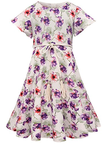 (Bonny Billy Girl's Flutter Sleeve Holiday Dress with Braided Belt 7-8 Years)