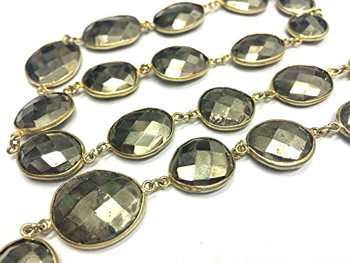 (1 foot natural pyrite uneven gemstone bezel set connector gold plated station chain loose gemstone jewelry necklace beaded chain)