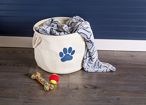 """DII Bone Dry Small Round Pet Toy and Accessory Storage Bin, 12""""(Dia)x9""""(H), Collapsible Organizer Storage Basket for Home Décor, Pet Toy, Blankets, Leashes and Food-White with Blue Paw"""