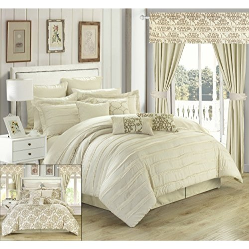 Chic Home Hailee 24 Piece Comforter Complete Bed in a Bag Sheet Set and Window Treatment, Queen, Beige (Set Comforter Beige)