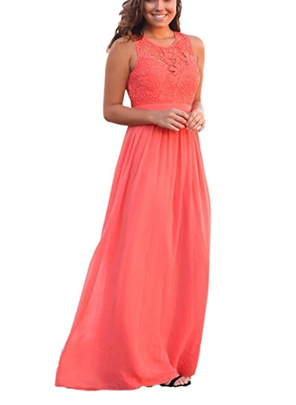 Tulbridal Womens Coral Lace Chiffon Country Style Long Bridesmaid