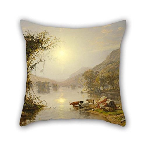 Oil Painting Jasper Francis Cropsey - Autumn On Greenwood Lake Pillowcase 16 X 16 Inches / 40 By 40 Cm Best Choice For Wife Bar Father Dinning Room Teens Home Office With Double (Jasper Bar Chair)