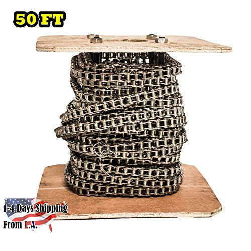 40 SS Stainless Steel Roller Chain 50 Feet with 5 Connecting - 40ss Stainless Steel