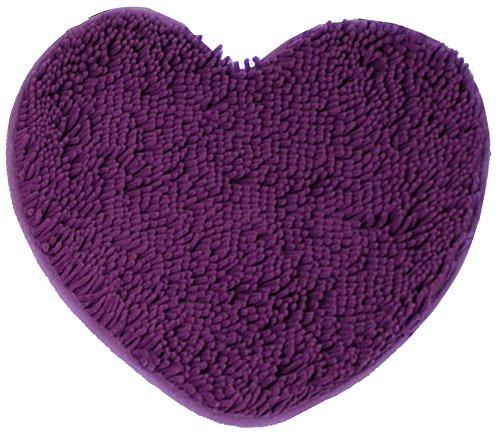 (ChezMax Chenille Heart Shape Non-Slip Indoor Outdoor Hello Doormat Large Small Inside Outside Front Door Mat Carpet Floor Rug Dark Purple 20