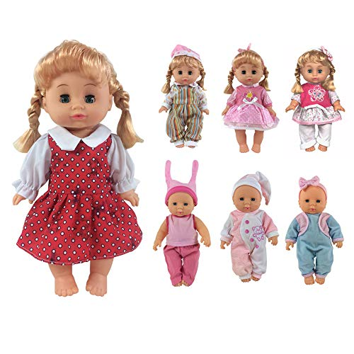 CZC GIFT Pack of 6 Alive Lovely Baby Dress Clothes Accessories Gown Outfits Fits for 12-14inch Doll Bitty Baby Doll