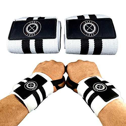 Wrist Wraps (Professional Quality) Spot Lion Fitness: Powerlifting, Bodybuilding, Weight Lifting Wrist Supports for Weight Training - White with Black Stripes