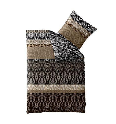CelinaTex 0004422 Smart Bettwäsche Garnitur 135 x 200 cm 4-Jahreszeiten Bettbezug Mikrofaser Reißverschluss Design Shani beige braun schwarz Zebra-Muster