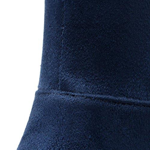 Allhqfashion Donna Tinta Unita In Camoscio Con Tacco Alto E Stivali Stringati Blu