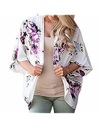 Tootu Women Chiffon Loose Shawl Print Kimono Cardigan Top Cover Up Blouse Beachwear (L, L)