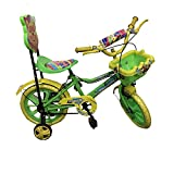 Rising India 14' Kids Bicycle For 3-5 Years Aqua Seat Fan Wheel With Basket -semi assembled (Green1)