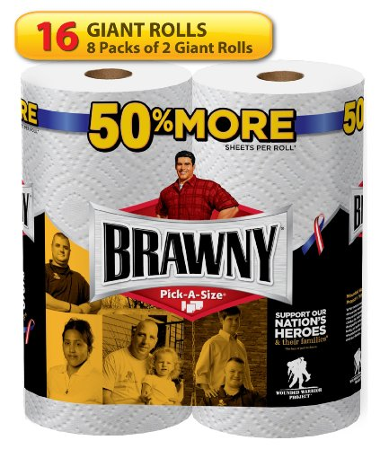 Brawny Giant Roll Paper Towel, Pick-A-Size, White, 16 Count
