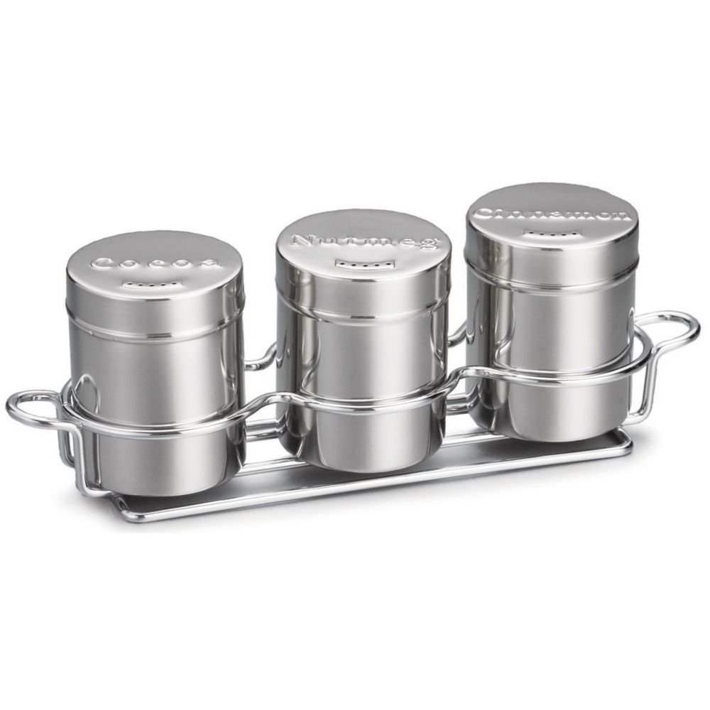Tablecraft 3-Piece 6 Oz S/S Countertop Shaker Set with Chrome Rack by Tablecraft (Image #1)