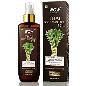 WOW Skin Science Thai Body Massage Oil for Reviving and Refreshing -Infused with Blend of 6 Oils with Jasmine Absolute…