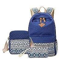 ABage School Bag 3 Backpack Set Student Bookbag with Shoulder Bag and Pencil Case for Teen Girls and Boys, Royal Blue