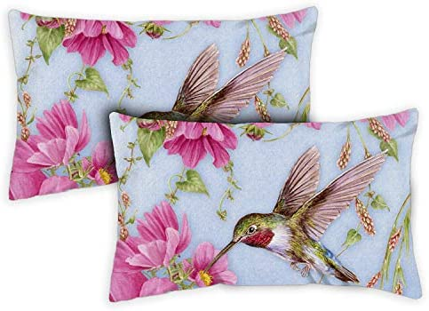 Toland Home Garden 771212 Hummingbirds with Pink 12 x 19 Inch Indoor Outdoor, Pillow, Case 2-Pack