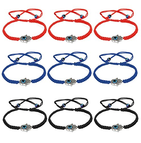Braided Hamsa Bracelet - Jstyle 9Pcs Hamsa String Bracelets for Men Women Braided Lucky Bracelets Kabbalah Woven Cord Wrist Set