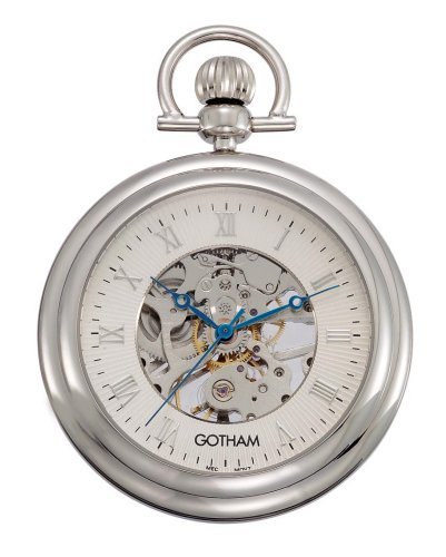 Gotham Men s Silver-Tone 17 Jewel Exhibition Mechanical Pocket Watch with Built-in Stand GWC14055S